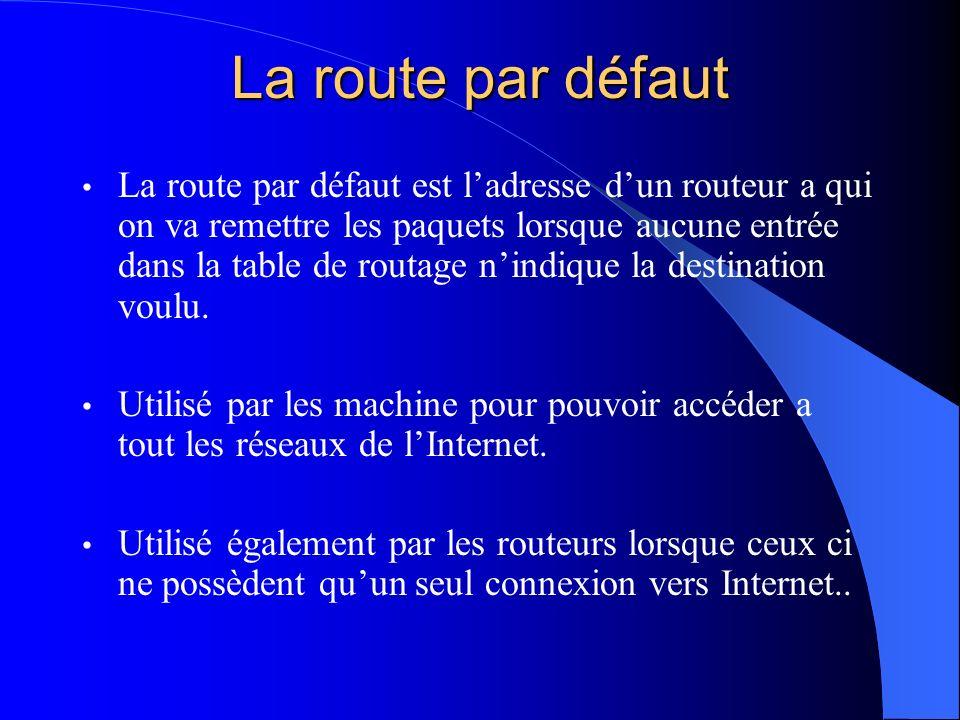 La route par défaut La route par défaut est ladresse dun routeur a qui on va remettre les paquets lorsque aucune entrée dans la table de routage nindi
