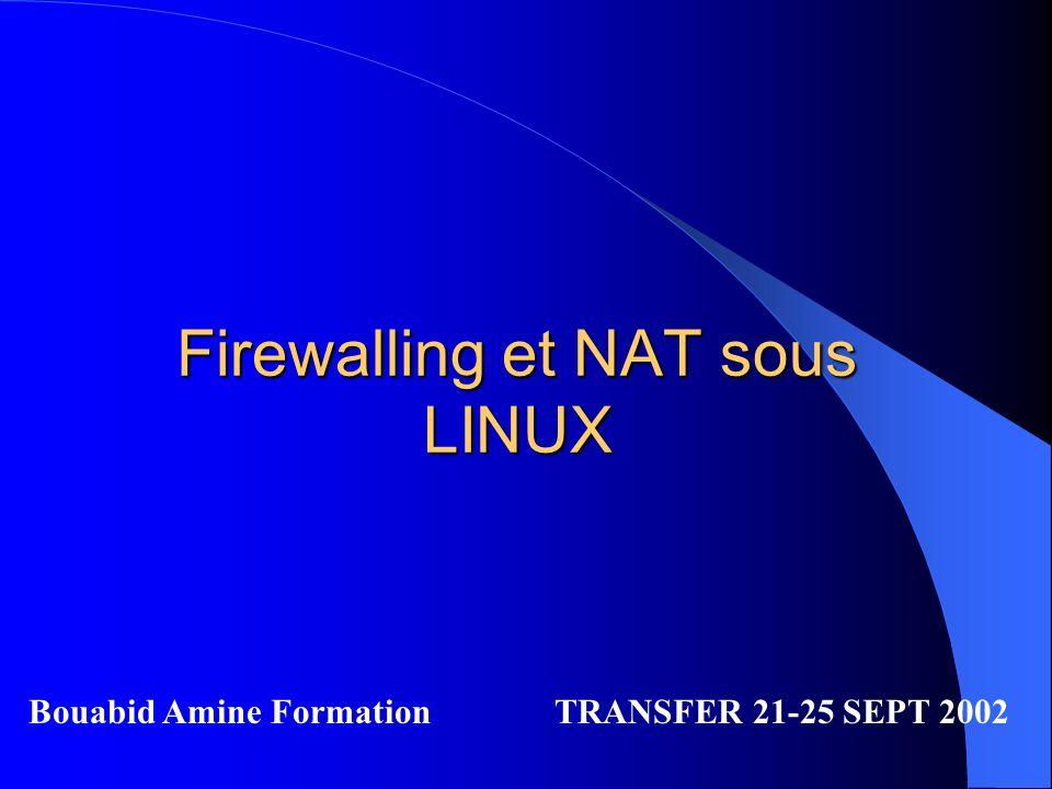 Firewalling et NAT sous LINUX Bouabid Amine Formation TRANSFER 21-25 SEPT 2002