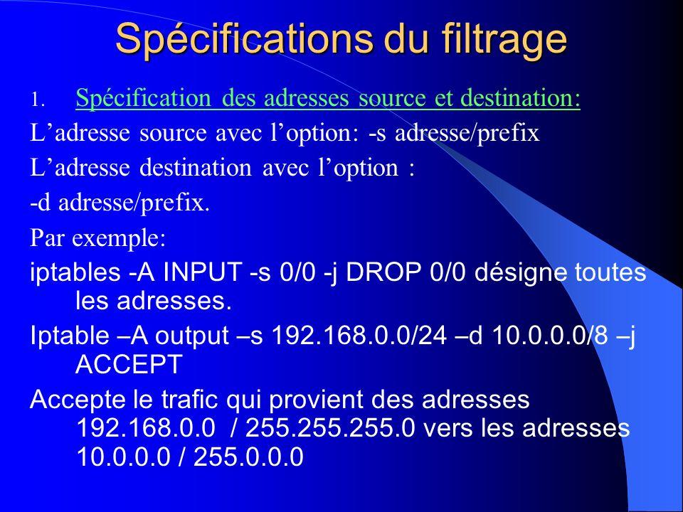 Spécifications du filtrage 1. Spécification des adresses source et destination: Ladresse source avec loption: -s adresse/prefix Ladresse destination a