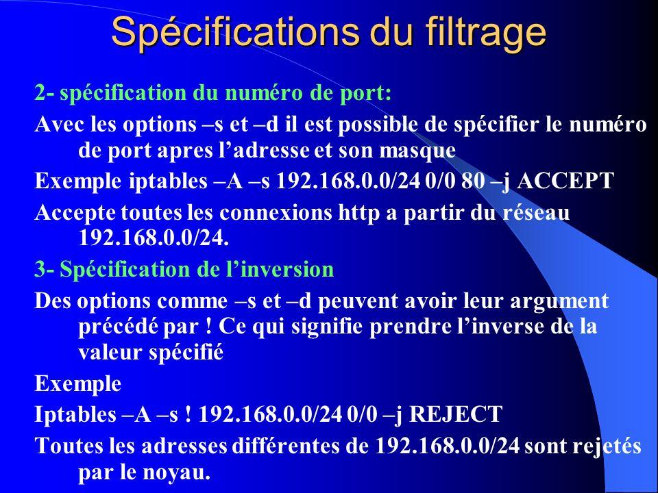Spécifications du filtrage 2- spécification du numéro de port: Avec les options –s et –d il est possible de spécifier le numéro de port apres ladresse