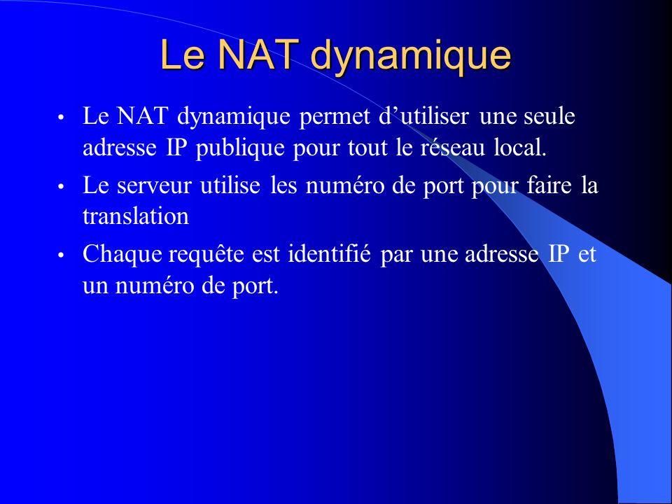 Le NAT dynamique Le NAT dynamique permet dutiliser une seule adresse IP publique pour tout le réseau local. Le serveur utilise les numéro de port pour