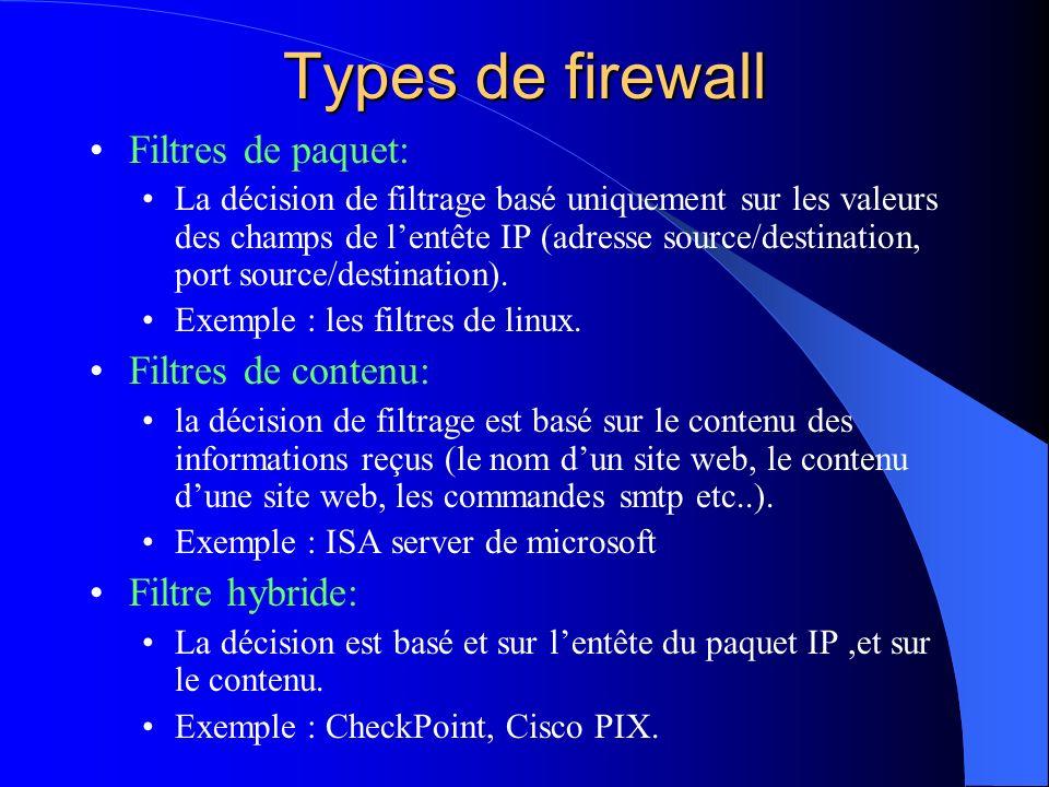 Types de firewall Filtres de paquet: La décision de filtrage basé uniquement sur les valeurs des champs de lentête IP (adresse source/destination, por