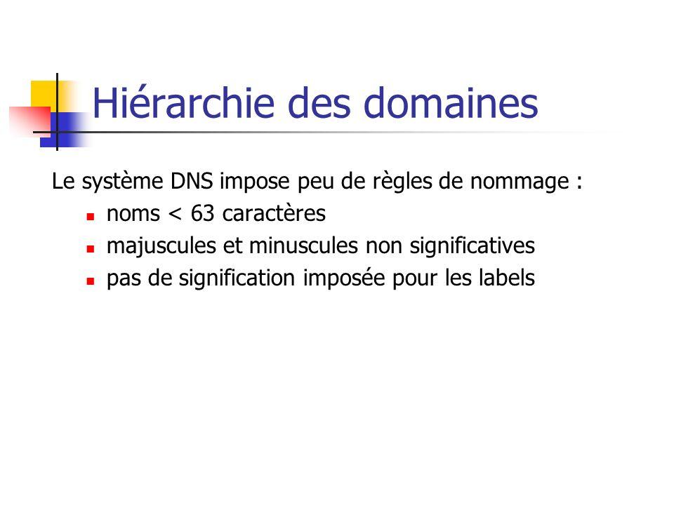 Hiérarchie des domaines Le système DNS impose peu de règles de nommage : noms < 63 caractères majuscules et minuscules non significatives pas de signi