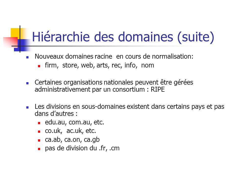 Hiérarchie des domaines (suite) Nouveaux domaines racine en cours de normalisation: firm, store, web, arts, rec, info, nom Certaines organisations nat