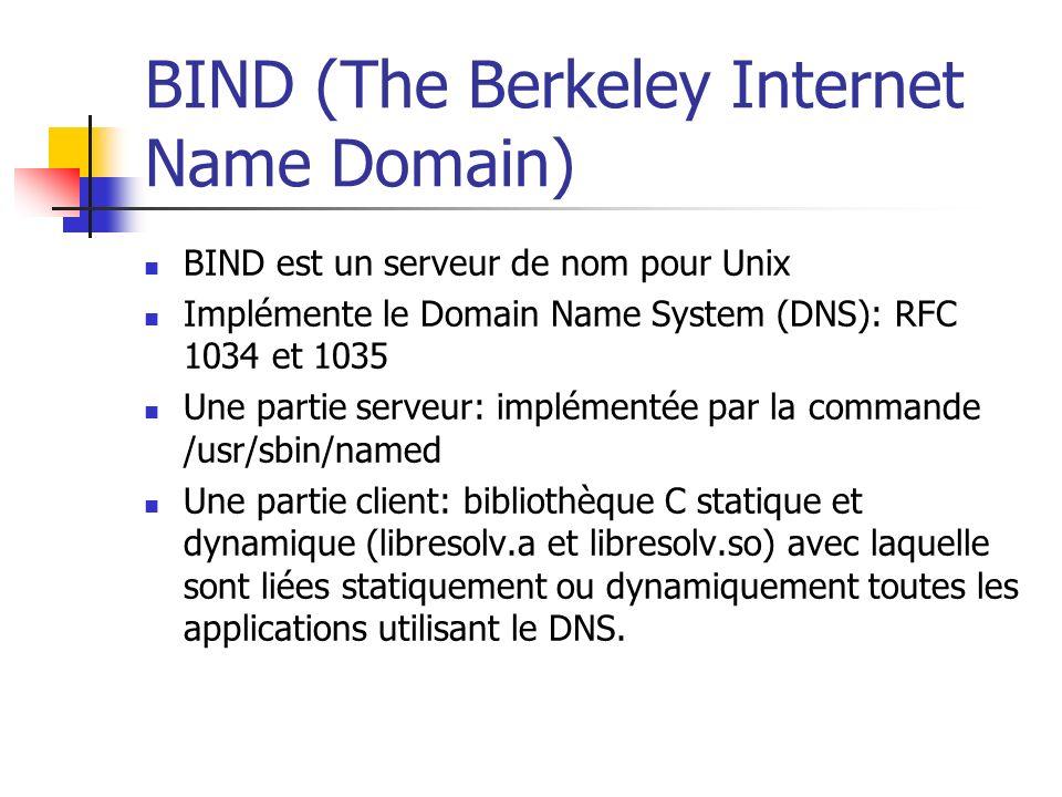BIND (The Berkeley Internet Name Domain) BIND est un serveur de nom pour Unix Implémente le Domain Name System (DNS): RFC 1034 et 1035 Une partie serv