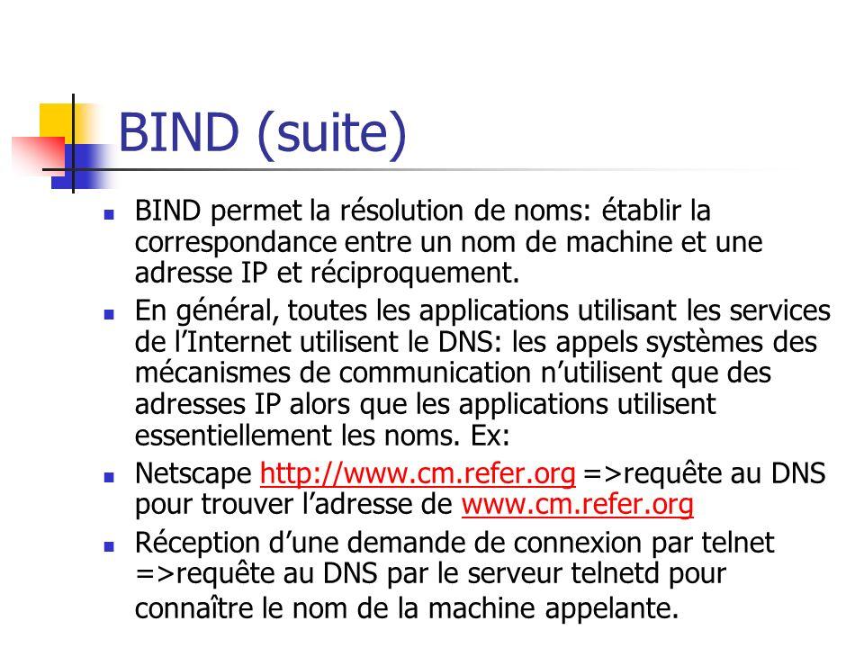 BIND (suite) BIND permet la résolution de noms: établir la correspondance entre un nom de machine et une adresse IP et réciproquement. En général, tou