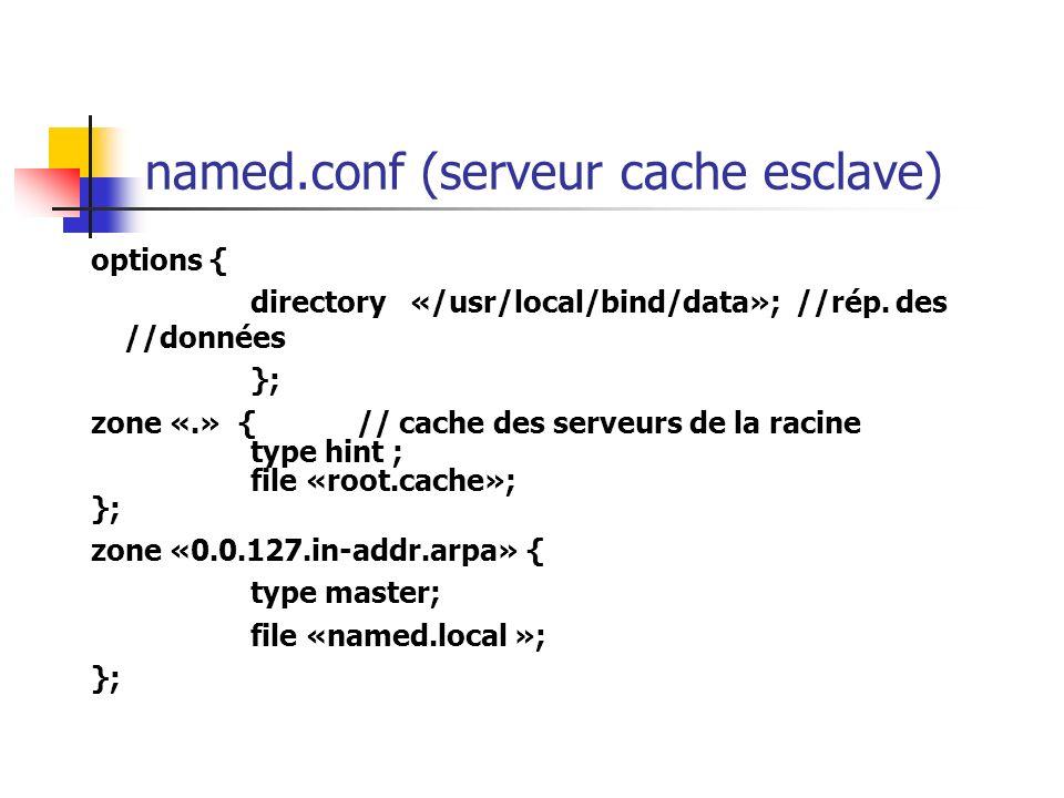named.conf (serveur cache esclave) options { directory «/usr/local/bind/data»; //rép. des //données }; zone «.» {// cache des serveurs de la racine ty