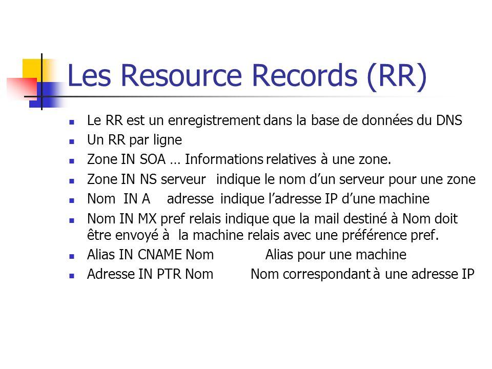 Les Resource Records (RR) Le RR est un enregistrement dans la base de données du DNS Un RR par ligne Zone IN SOA … Informations relatives à une zone.
