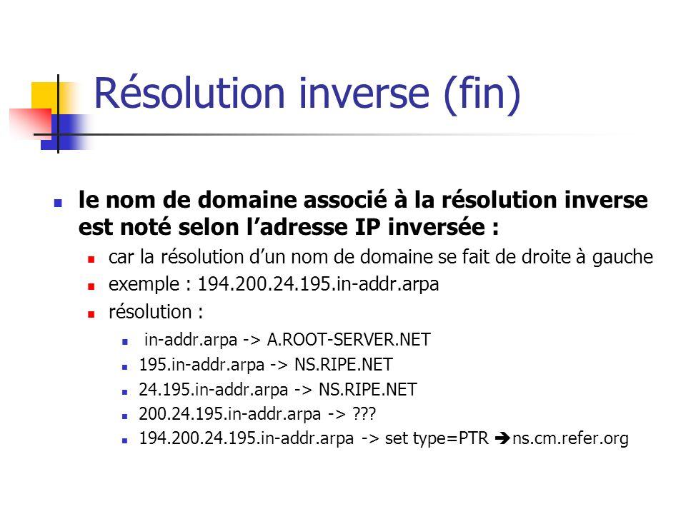 Résolution inverse (fin) le nom de domaine associé à la résolution inverse est noté selon ladresse IP inversée : car la résolution dun nom de domaine