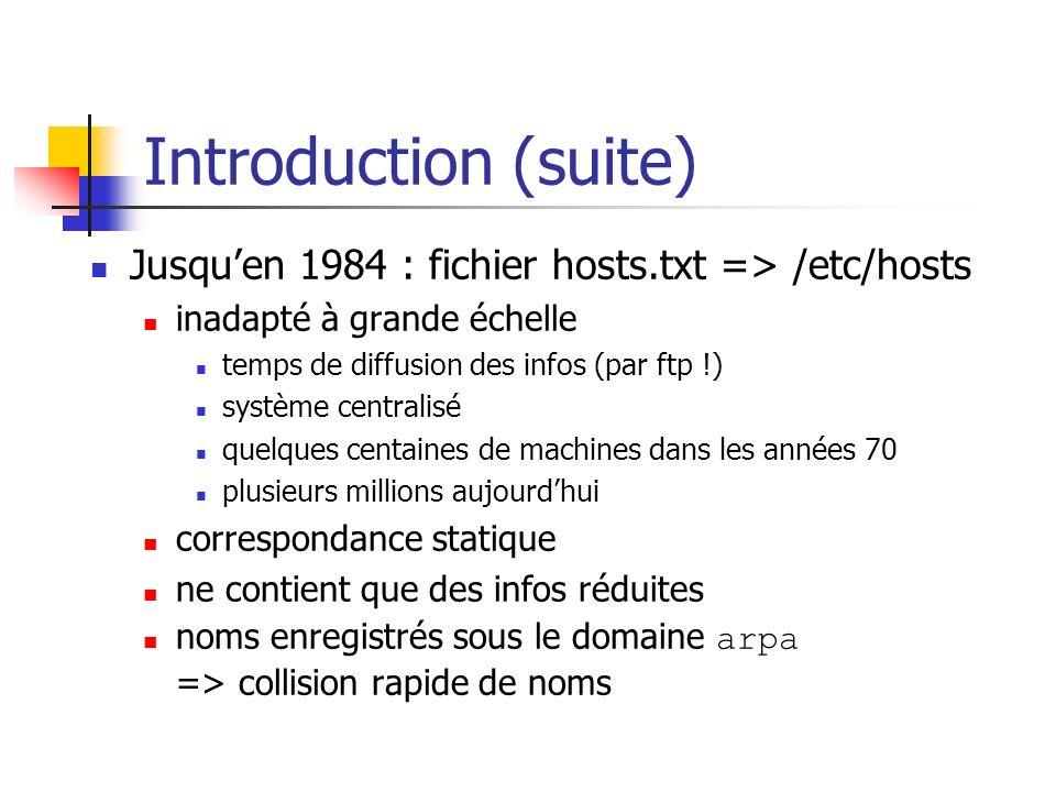 Introduction (suite) Jusquen 1984 : fichier hosts.txt => /etc/hosts inadapté à grande échelle temps de diffusion des infos (par ftp !) système central