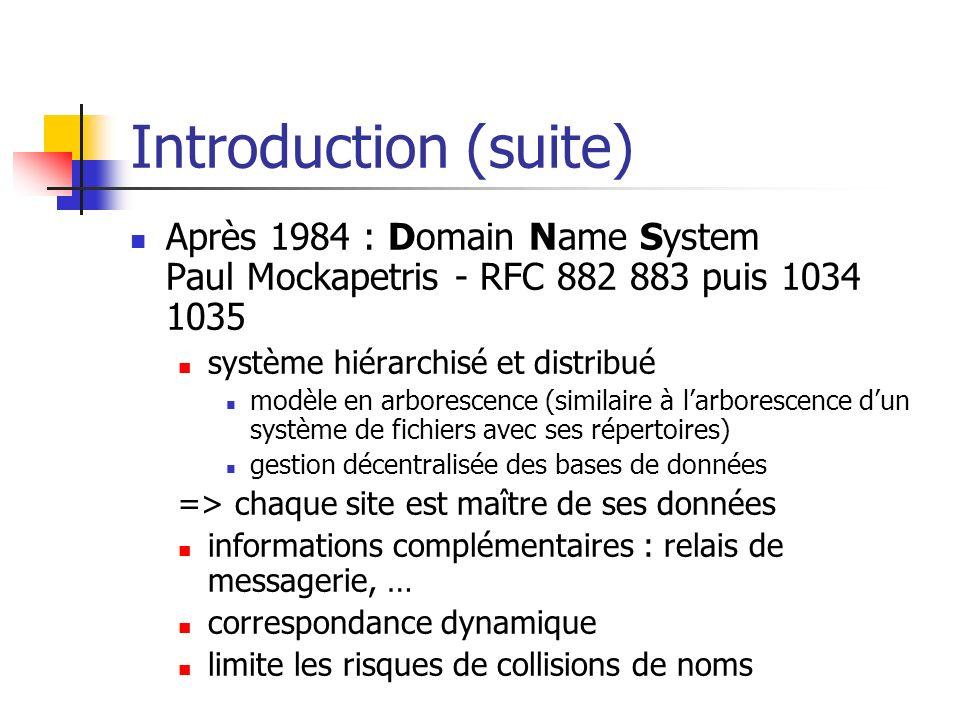 Introduction (suite) Après 1984 : Domain Name System Paul Mockapetris - RFC 882 883 puis 1034 1035 système hiérarchisé et distribué modèle en arboresc
