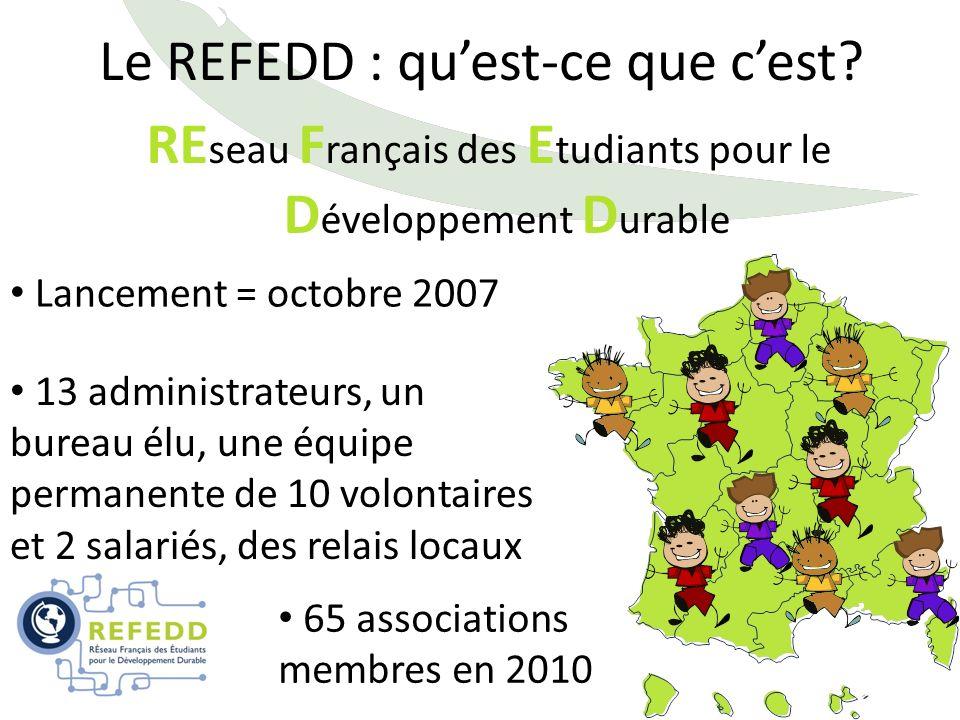 Le REFEDD : quest-ce que cest? RE seau F rançais des E tudiants pour le D éveloppement D urable Lancement = octobre 2007 65 associations membres en 20