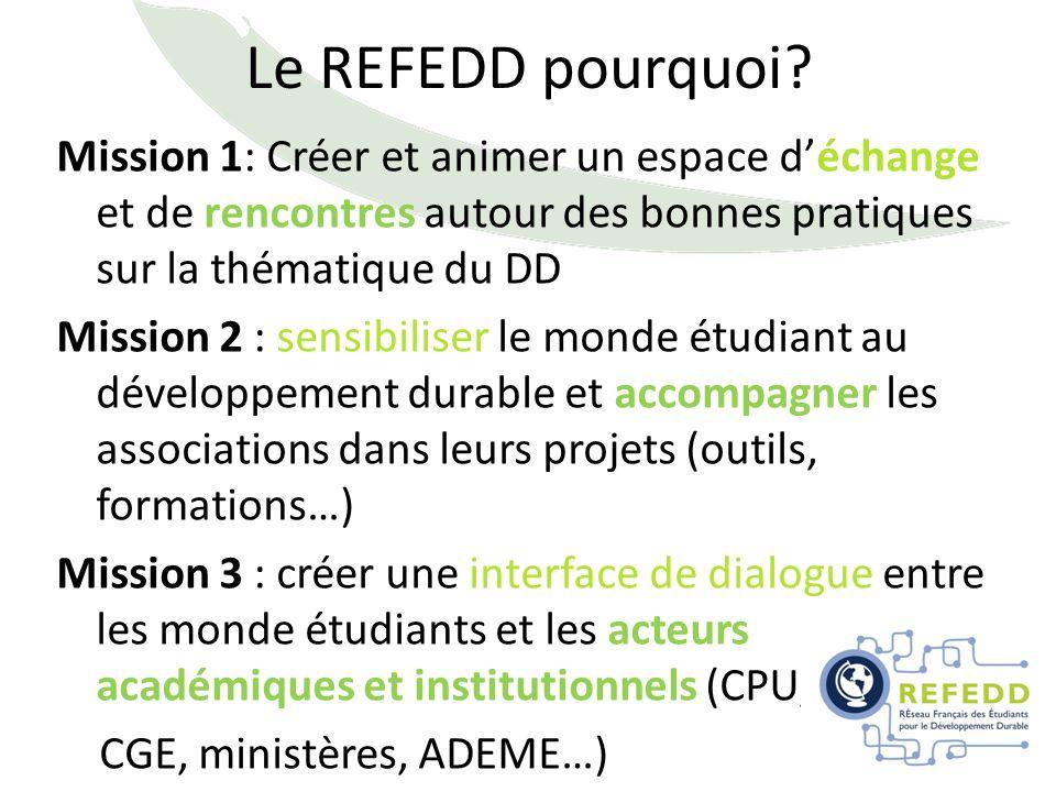 Le REFEDD pourquoi? Mission 1: Créer et animer un espace déchange et de rencontres autour des bonnes pratiques sur la thématique du DD Mission 2 : sen