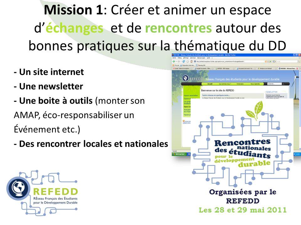 - Un site internet - Une newsletter - Une boite à outils (monter son AMAP, éco-responsabiliser un Événement etc.) - Des rencontrer locales et national