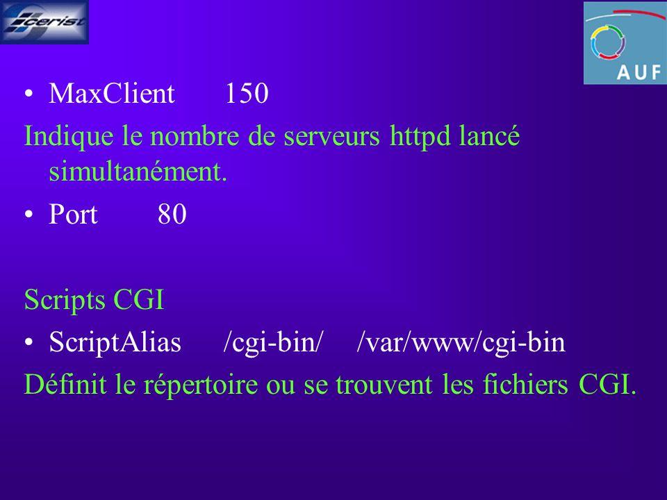 MaxClient150 Indique le nombre de serveurs httpd lancé simultanément.