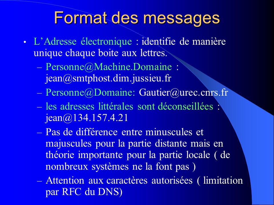 Format des messages LAdresse électronique : identifie de manière unique chaque boite aux lettres. – Personne@Machine.Domaine : jean@smtphost.dim.jussi