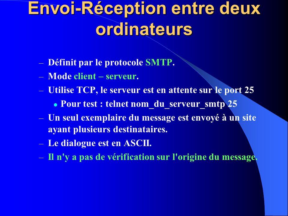 Envoi-Réception entre deux ordinateurs – Définit par le protocole SMTP. – Mode client – serveur. – Utilise TCP, le serveur est en attente sur le port