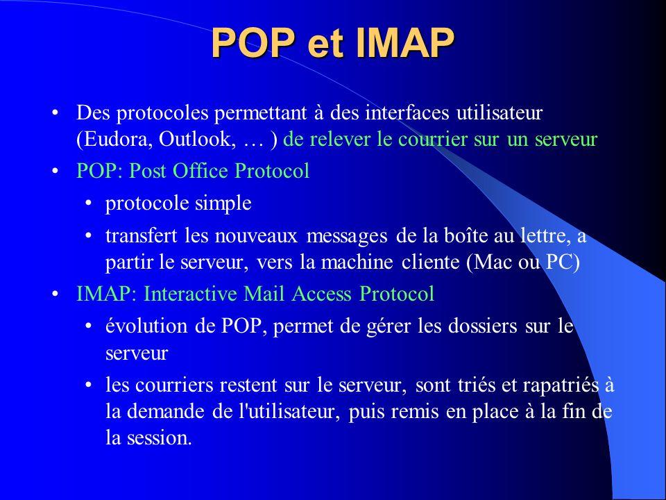 POP et IMAP Des protocoles permettant à des interfaces utilisateur (Eudora, Outlook, … ) de relever le courrier sur un serveur POP: Post Office Protoc