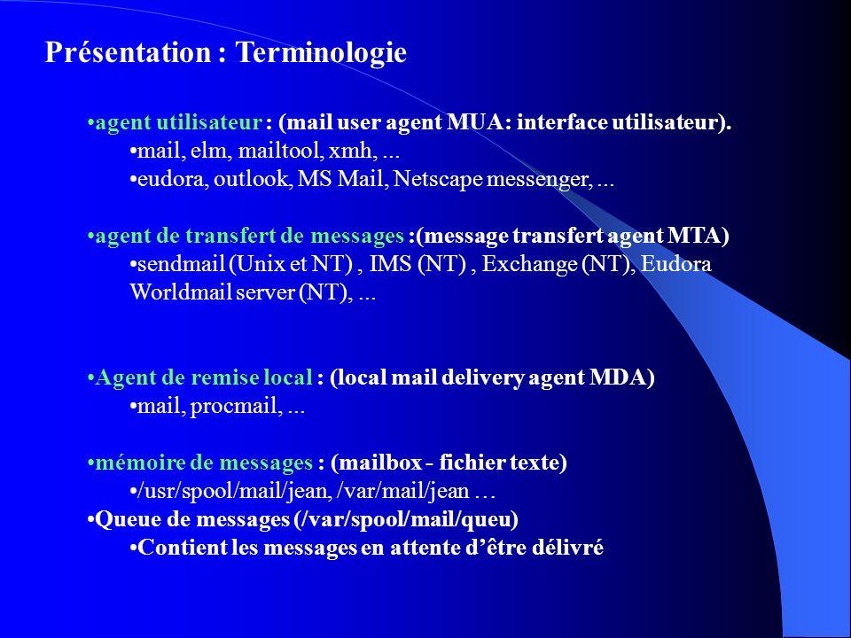 Présentation : Terminologie agent utilisateur : (mail user agent MUA: interface utilisateur). mail, elm, mailtool, xmh,... eudora, outlook, MS Mail, N