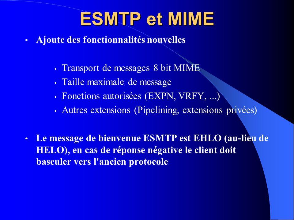 ESMTP et MIME Ajoute des fonctionnalités nouvelles Transport de messages 8 bit MIME Taille maximale de message Fonctions autorisées (EXPN, VRFY,...) A