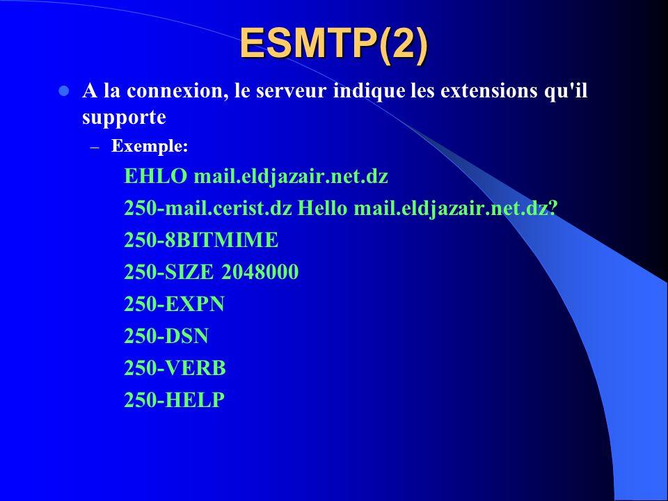 ESMTP(2) A la connexion, le serveur indique les extensions qu'il supporte – Exemple: EHLO mail.eldjazair.net.dz 250-mail.cerist.dz Hello mail.eldjazai