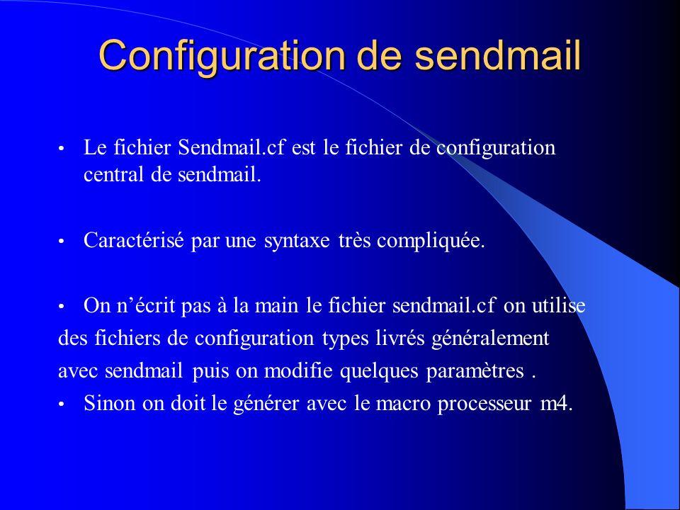 Configuration de sendmail Le fichier Sendmail.cf est le fichier de configuration central de sendmail. Caractérisé par une syntaxe très compliquée. On