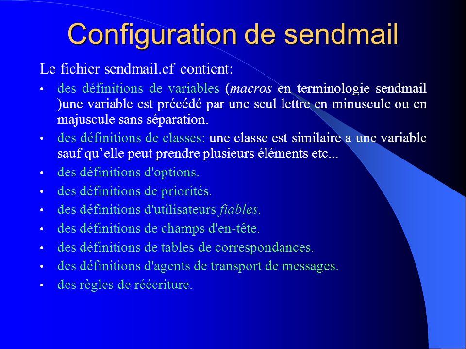 Configuration de sendmail Le fichier sendmail.cf contient: des définitions de variables (macros en terminologie sendmail )une variable est précédé par