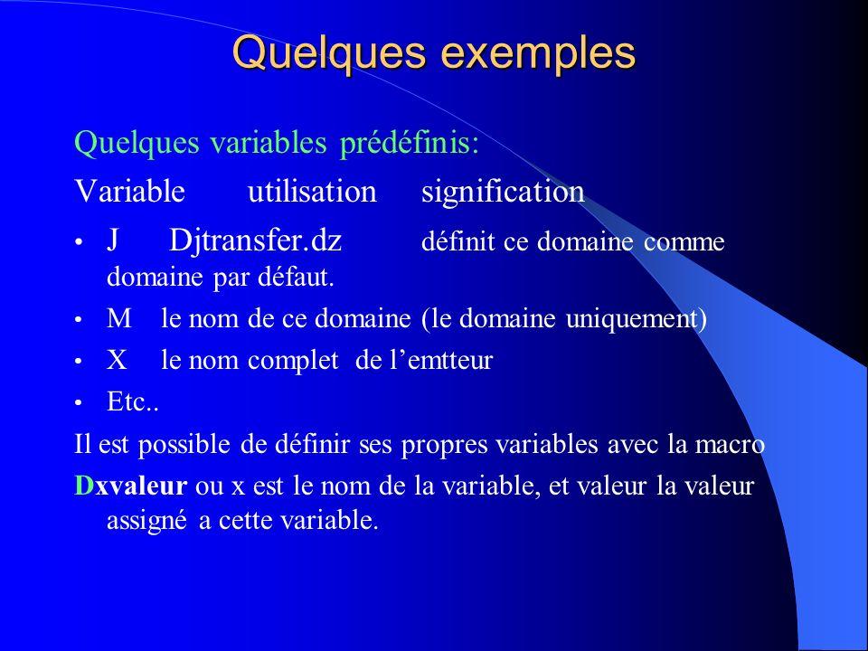 Quelques exemples Quelques variables prédéfinis: Variable utilisationsignification J Djtransfer.dz définit ce domaine comme domaine par défaut. Mle no