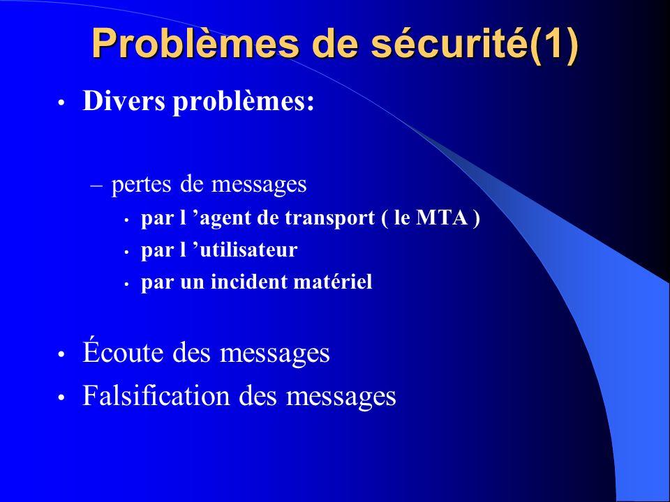 Problèmes de sécurité(1) Divers problèmes: – pertes de messages par l agent de transport ( le MTA ) par l utilisateur par un incident matériel Écoute