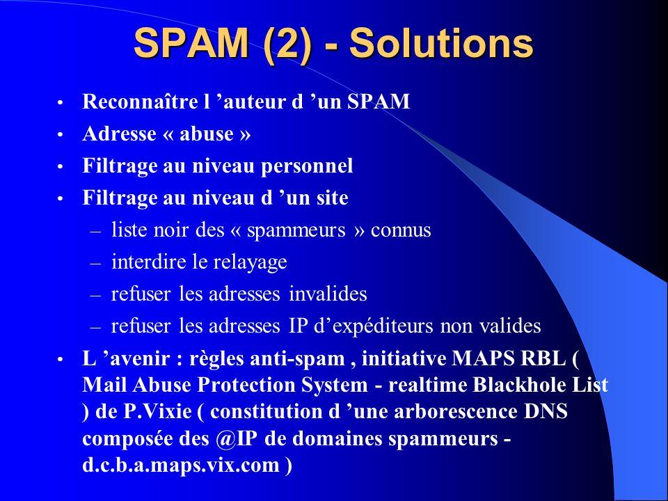 SPAM (2) - Solutions Reconnaître l auteur d un SPAM Adresse « abuse » Filtrage au niveau personnel Filtrage au niveau d un site – liste noir des « spa