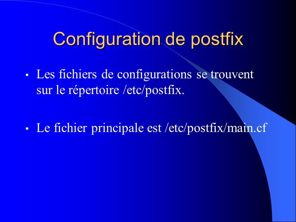 Configuration de postfix Les fichiers de configurations se trouvent sur le répertoire /etc/postfix. Le fichier principale est /etc/postfix/main.cf