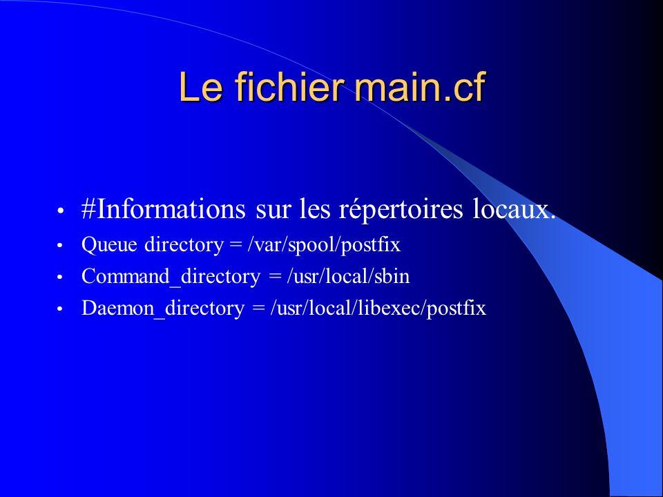 Le fichier main.cf #Informations sur les répertoires locaux. Queue directory = /var/spool/postfix Command_directory = /usr/local/sbin Daemon_directory