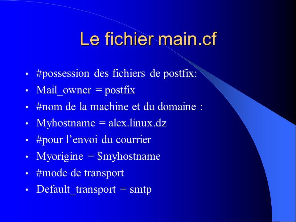 Le fichier main.cf #possession des fichiers de postfix: Mail_owner = postfix #nom de la machine et du domaine : Myhostname = alex.linux.dz #pour lenvo