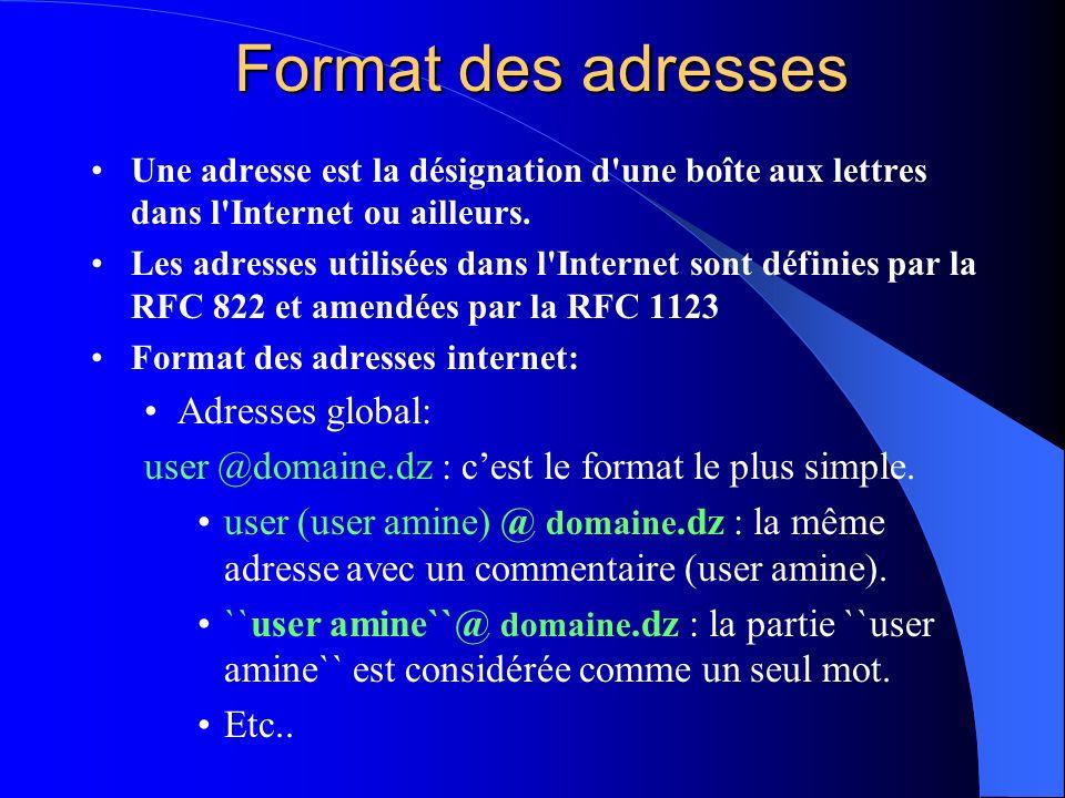 Format des adresses Une adresse est la désignation d'une boîte aux lettres dans l'Internet ou ailleurs. Les adresses utilisées dans l'Internet sont dé