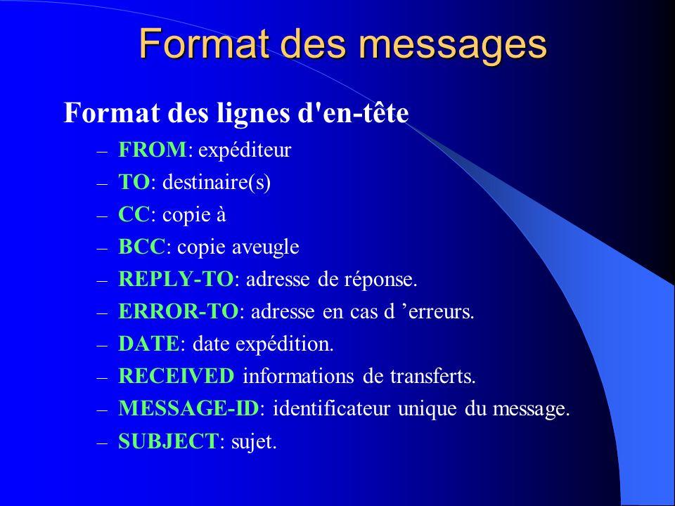 Format des messages Format des lignes d'en-tête – FROM: expéditeur – TO: destinaire(s) – CC: copie à – BCC: copie aveugle – REPLY-TO: adresse de répon