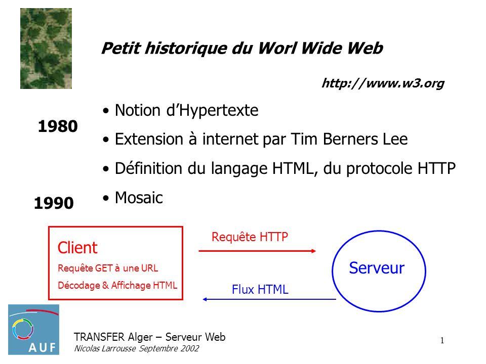 TRANSFER Alger – Serveur Web Nicolas Larrousse Septembre 2002 1 Petit historique du Worl Wide Web Notion dHypertexte Extension à internet par Tim Bern