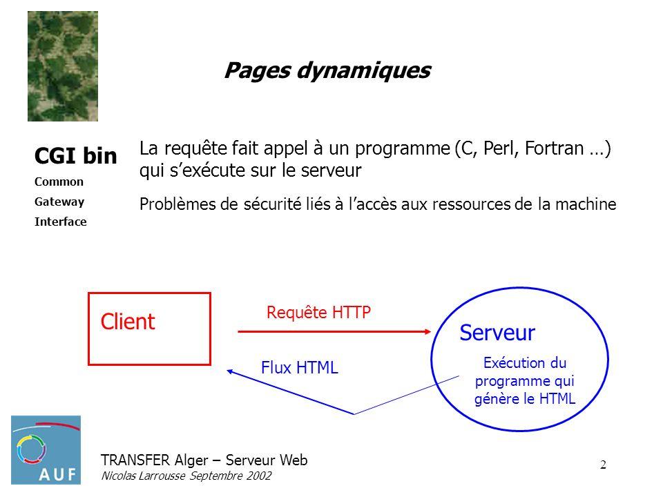 TRANSFER Alger – Serveur Web Nicolas Larrousse Septembre 2002 2 Pages dynamiques La requête fait appel à un programme (C, Perl, Fortran …) qui sexécute sur le serveur Problèmes de sécurité liés à laccès aux ressources de la machine CGI bin Common Gateway Interface Serveur Exécution du programme qui génère le HTML Client Flux HTML Requête HTTP