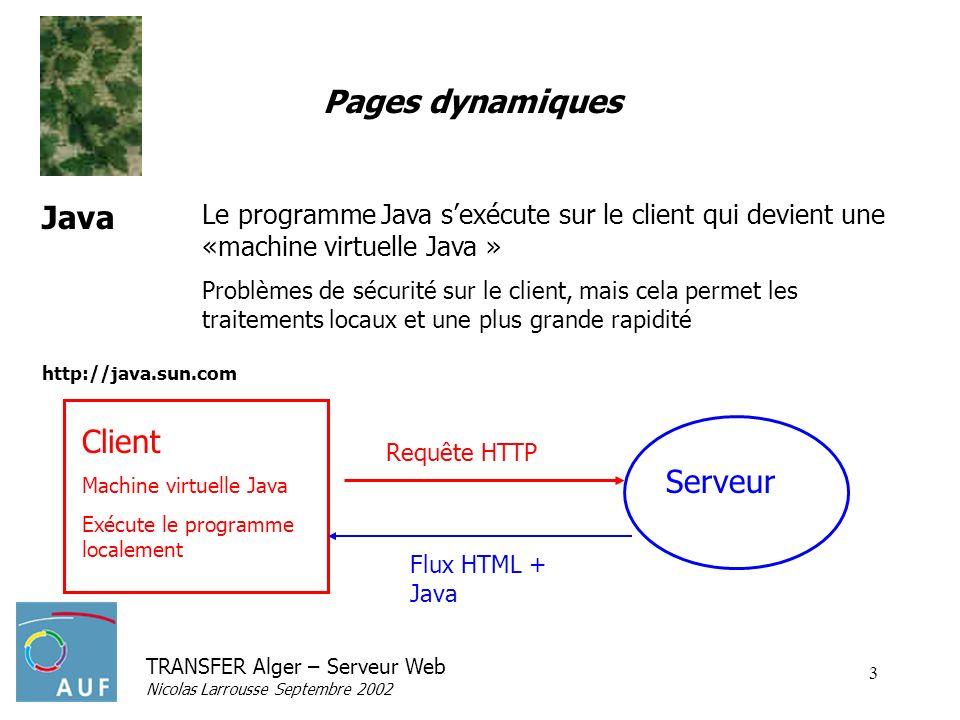 TRANSFER Alger – Serveur Web Nicolas Larrousse Septembre 2002 3 Pages dynamiques Le programme Java sexécute sur le client qui devient une «machine virtuelle Java » Problèmes de sécurité sur le client, mais cela permet les traitements locaux et une plus grande rapidité Java http://java.sun.com Serveur Client Machine virtuelle Java Exécute le programme localement Flux HTML + Java Requête HTTP