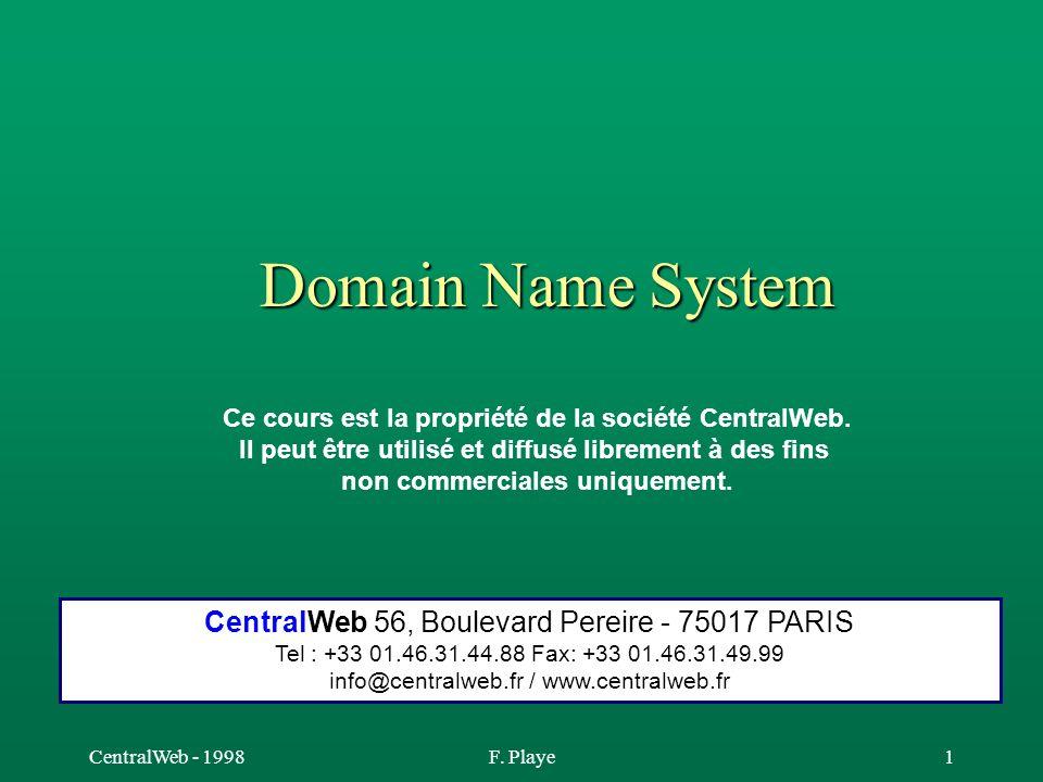 CentralWeb - 1998F. Playe1 Domain Name System Ce cours est la propriété de la société CentralWeb. Il peut être utilisé et diffusé librement à des fins