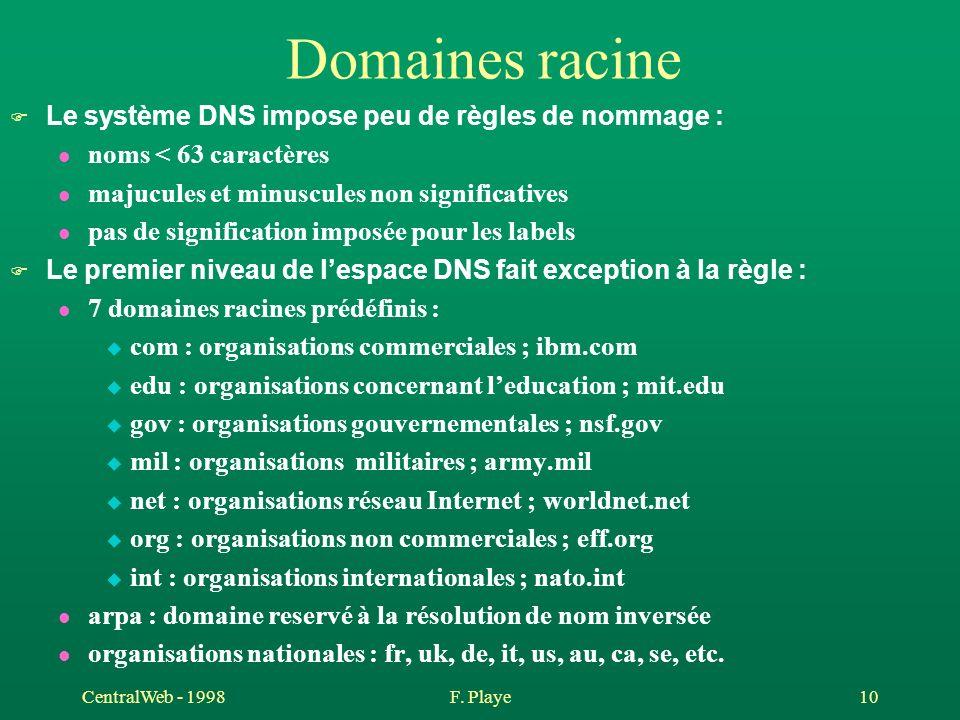CentralWeb - 1998F. Playe 10 Domaines racine F Le système DNS impose peu de règles de nommage : l noms < 63 caractères l majucules et minuscules non s