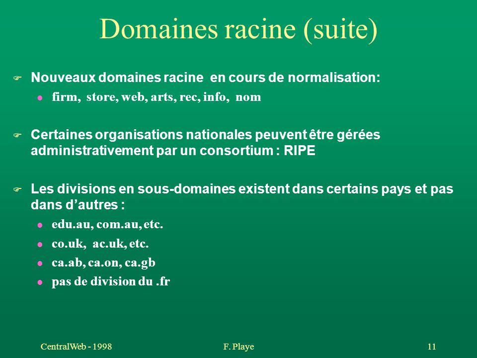 CentralWeb - 1998F. Playe 11 Domaines racine (suite) F Nouveaux domaines racine en cours de normalisation: l firm, store, web, arts, rec, info, nom F