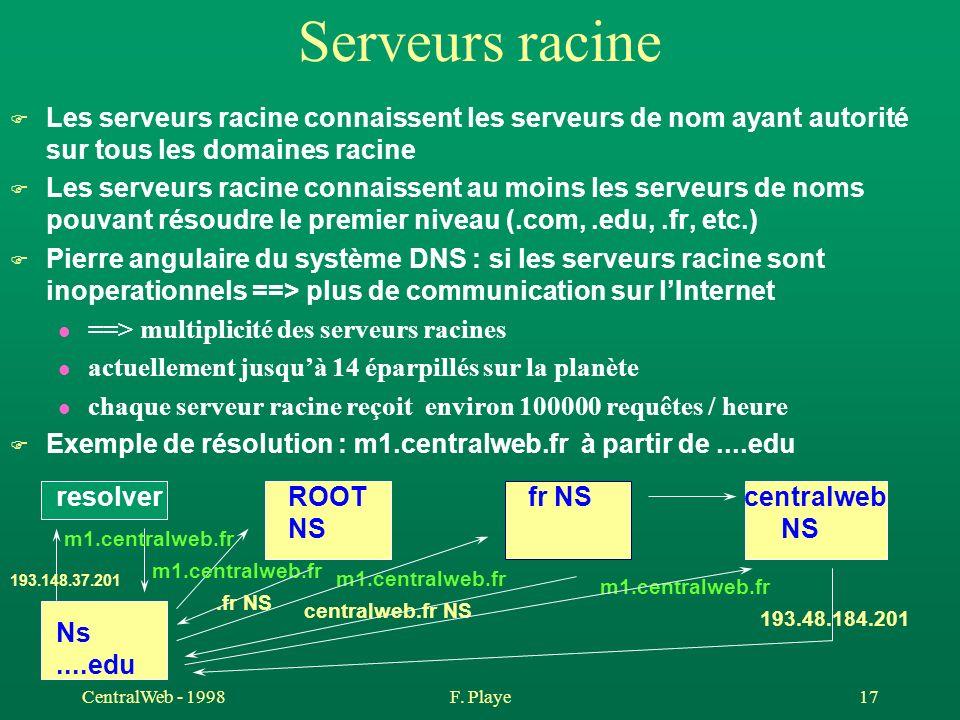CentralWeb - 1998F. Playe 17 Serveurs racine F Les serveurs racine connaissent les serveurs de nom ayant autorité sur tous les domaines racine F Les s