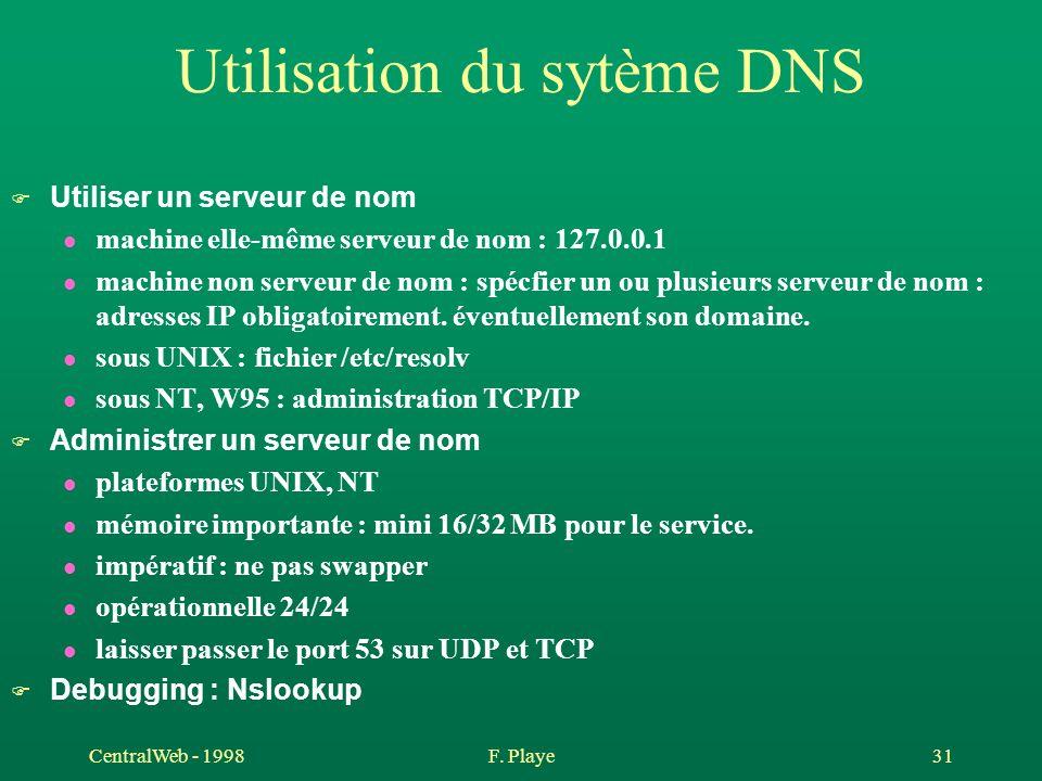 CentralWeb - 1998F. Playe 31 Utilisation du sytème DNS F Utiliser un serveur de nom l machine elle-même serveur de nom : 127.0.0.1 l machine non serve