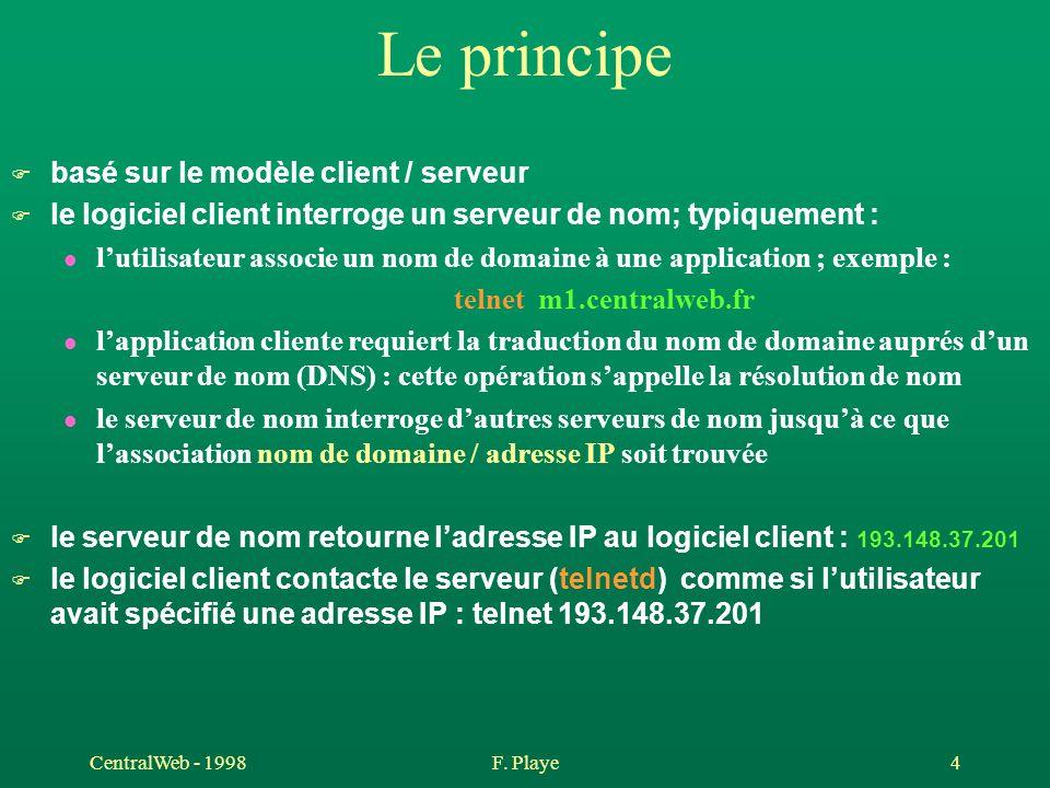 CentralWeb - 1998F. Playe 4 Le principe F basé sur le modèle client / serveur F le logiciel client interroge un serveur de nom; typiquement : l lutili