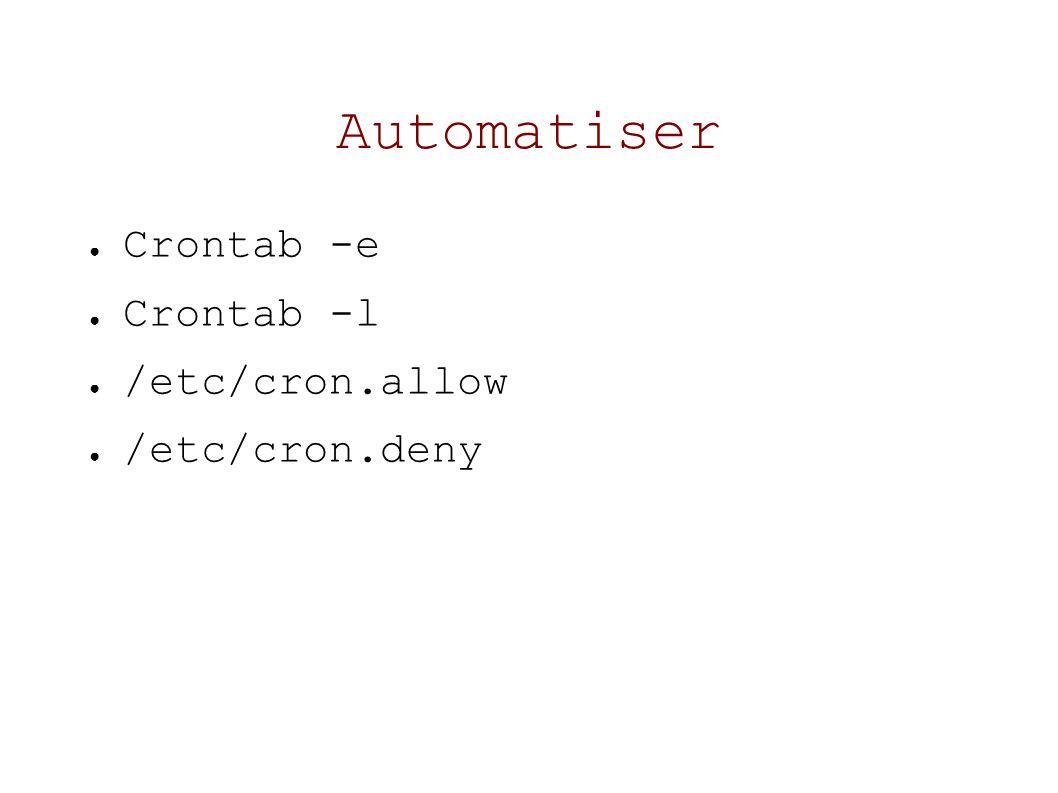 Automatiser Crontab -e Crontab -l /etc/cron.allow /etc/cron.deny