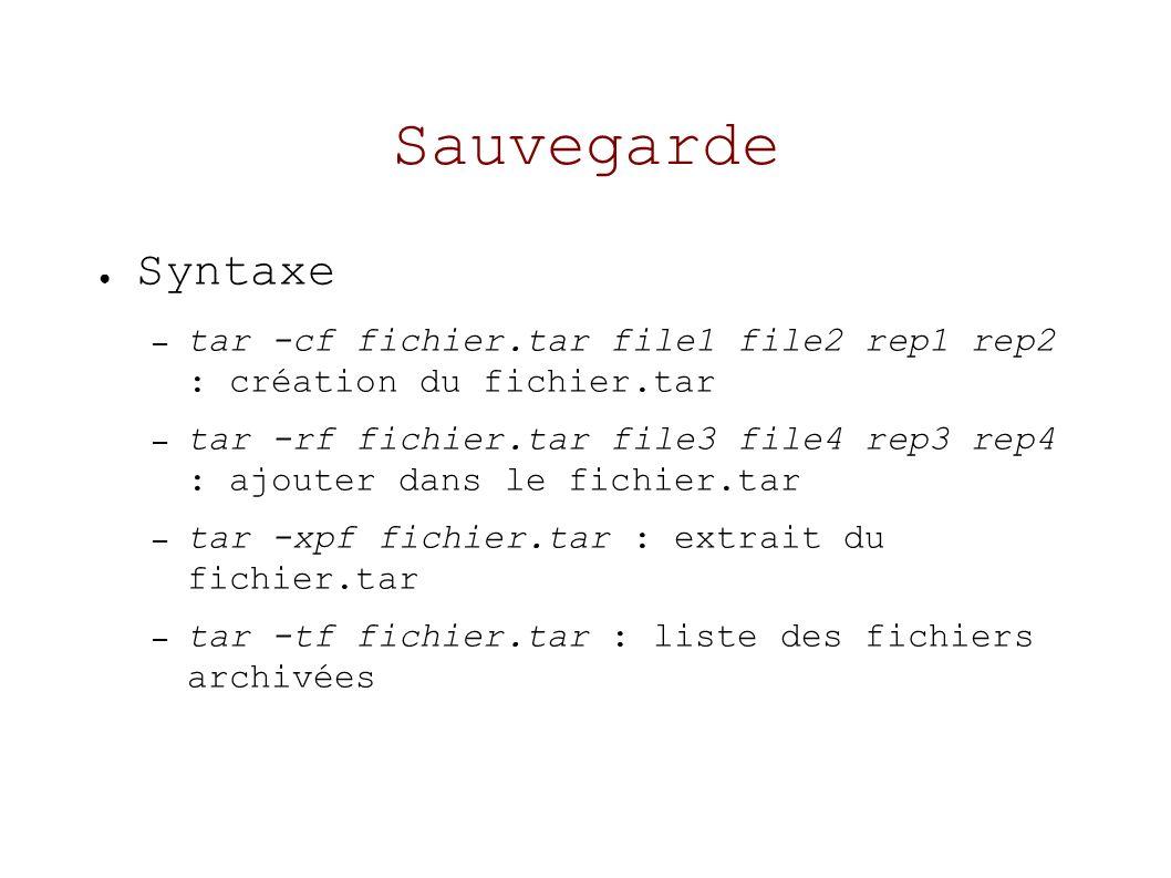 Sauvegarde Syntaxe – tar -cf fichier.tar file1 file2 rep1 rep2 : création du fichier.tar – tar -rf fichier.tar file3 file4 rep3 rep4 : ajouter dans le fichier.tar – tar -xpf fichier.tar : extrait du fichier.tar – tar -tf fichier.tar : liste des fichiers archivées