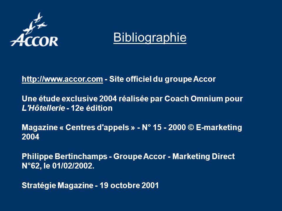 http://www.accor.com - Site officiel du groupe Accor Une étude exclusive 2004 réalisée par Coach Omnium pour L Hôtellerie - 12e édition Magazine « Centres d appels » - N° 15 - 2000 © E-marketing 2004 Philippe Bertinchamps - Groupe Accor - Marketing Direct N°62, le 01/02/2002.
