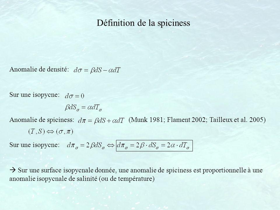 Définition de la spiciness Anomalie de densité: Sur une isopycne: Anomalie de spiciness: (Munk 1981; Flament 2002; Tailleux et al. 2005) Sur une isopy