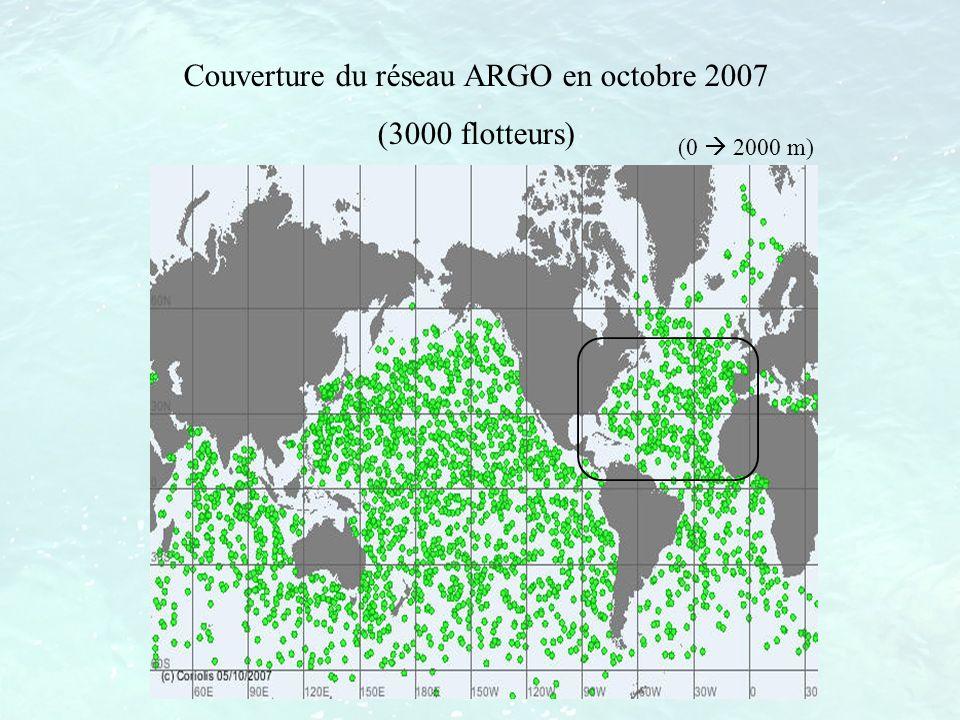 Couverture du réseau ARGO en octobre 2007 (3000 flotteurs) (0 2000 m)
