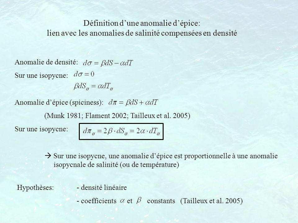 Anomalie de densité: Sur une isopycne: Anomalie dépice (spiciness): (Munk 1981; Flament 2002; Tailleux et al. 2005) Sur une isopycne: Sur une isopycne